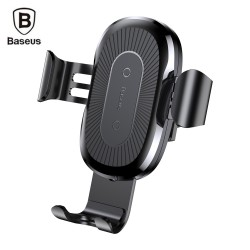 Baseus Wireless Fast Charger Gravity Car Mount 10W Silicone - Black