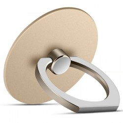 360 Degree Round Finger Ring Mobile Phone Smartphone Stand Holder - Champagne Gold