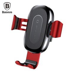 Baseus Wireless Fast Charger Gravity Car Mount 10W Silicone - Red