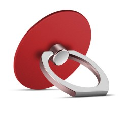 360 Degree Round Finger Ring Mobile Phone Smartphone Stand Holder - Red