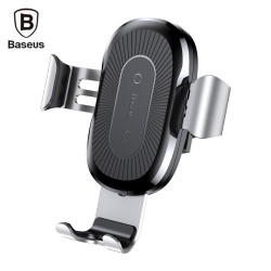 Baseus Wireless Fast Charger Gravity Car Mount 10W Silicone - Silver