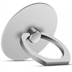 360 Degree Round Finger Ring Mobile Phone Smartphone Stand Holder - Silver