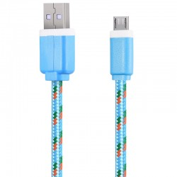1M Micro USB Flat Braided Synchronization Charger Cable Cord Adapter for Android Smart Phones - Blue
