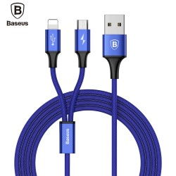 Baseus Rapid Series 2 in 1 Micro USB + 8 Pin Connector 3A Fast Charging Data Transfer Cable 1.2M - Cadetblue
