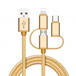 High Speed Nylon Braided Fast Charging 3 in 1 USB Charger Cable for iPhone Android Type C Mobile Phones - Golden