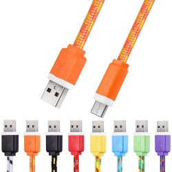 1M Micro USB Flat Braided Synchronization Charger Cable Cord Adapter for Android Smart Phones - Orange