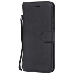 For Huawei Mate 20 Pro Case Luxury Plain PU Leather Flip Wallet Cover - Black