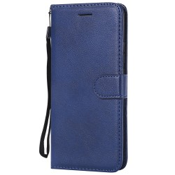 For Huawei Mate 20 Pro Case Luxury Plain PU Leather Flip Wallet Cover - Blue