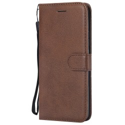 For Huawei Mate 20 Pro Case Luxury Plain PU Leather Flip Wallet Cover - Brown