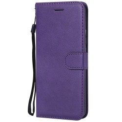 For Huawei Mate 20 Pro Case Luxury Plain PU Leather Flip Wallet Cover - Purple