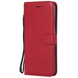 For Huawei Mate 20 Pro Case Luxury Plain PU Leather Flip Wallet Cover - Red