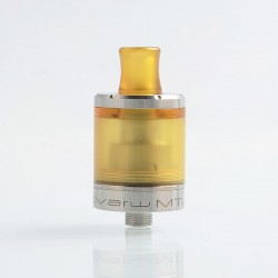 SteamTuners Top Refill Dvarw V2 Style MTL RTA Rebuildable Tank Atomizer - Silver, 316 Stainless Steel + PEI, 2ml, 22mm Diameter