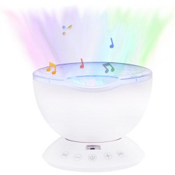 Remote Control Hypnosis Ocean Wave Projector Colorful Sleep LED Night Light for Living Room - White