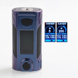 Authentic Oumier Rudder 200W TC VW Variable Wattage Box Mod - Blue Purple Shades, 5~200W, 2 x 18650