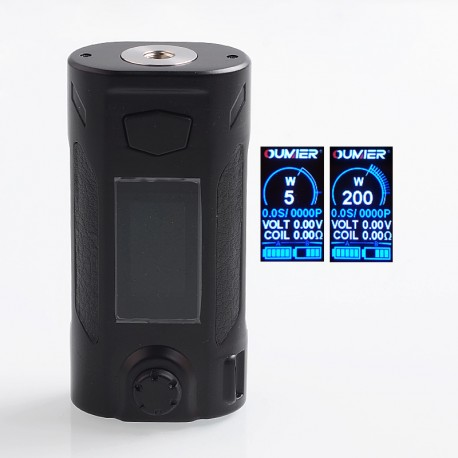 Authentic Oumier Rudder 200W TC VW Variable Wattage Box Mod - Black, 5~200W, 2 x 18650