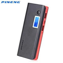 Original PINENG PN - 968 Dual USB Charging 10000mAh Power Bank External Battery Charger with LCD Screen Flashlight - Black