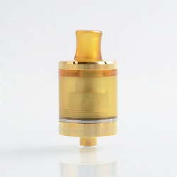 SteamTuners Top Refill Dvarw V2 Style MTL RTA Rebuildable Tank Atomizer - Gold, 316 Stainless Steel + PEI, 2ml, 22mm Diameter