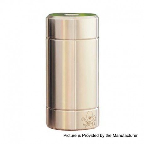 Authentic Cthulhu Tube Dual MOSFET Semi-Mechanical Mod - Silver, 1 x 18350 / 18650, 24mm Diameter