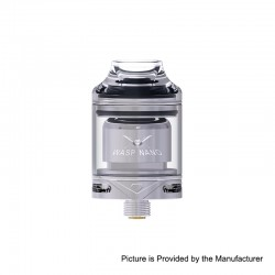 Authentic Oumier Wasp Nano RTA Rebuildable Tank Atomizer - Silver, PCTG + Stainless Steel + Glass, 2ml, 23mm Diameter