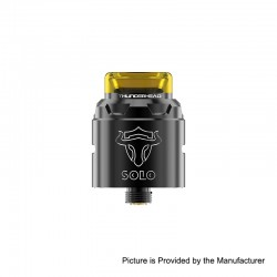 Authentic ThunderHead Creations THC Tauren Solo RDA Rebuildable Dripping Atomizer w/ BF Pin - SS Black, 2ml, 24mm Diameter