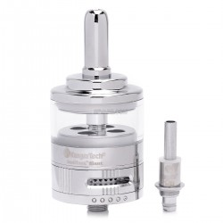 Authentic Kanger GeniTank Giant Bottom Dual Coil Clearomizer - Silver, Brass + Glass, 4.5ml, 1.8 ohm
