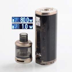 Authentic Wismec SINUOUS V80 80W TC VW Box Mod + Amor NSE Tank Kit - Black, 1~80W, 1 x 18650, 3ml, 0.27 / 1.3 Ohm