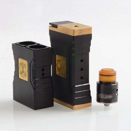 Knight Style Mechanical Box Mod + Fuel Style RDA Kit - Black, POM + Brass + Stainless Steel, 4 x 18650