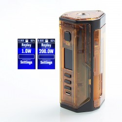 Authentic Lost Vape Drone 200W DNA250C TC VW Squonk Box Mod - Black Amber, 1~200W, 2 x 18650, 8ml, Evolv DNA250C Chip
