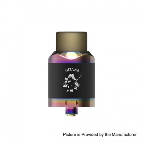 Authentic IJOY Katana RDA Rebuildable Dripping Atomizer w/ BF Pin - Mirror Rainbow, Stainless Steel, 24mm Diameter