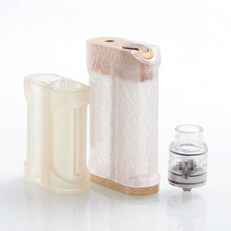 Kalasag V2 Style Mechanical Mod + Kampilan Style RDA Kit - Clear, PC + Brass, 4 x 18650