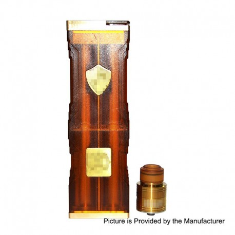 Knight Style Mechanical Box Mod + Fuel Style RDA Kit - Yellow, PEI + Brass + Stainless Steel, 4 x 18650