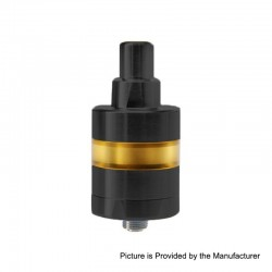 SXK KF Lite 2019 Style RTA Rebuildable Tank Atomizer - Black, 316 Stainless Steel + PEI, 2ml, 24mm Diameter