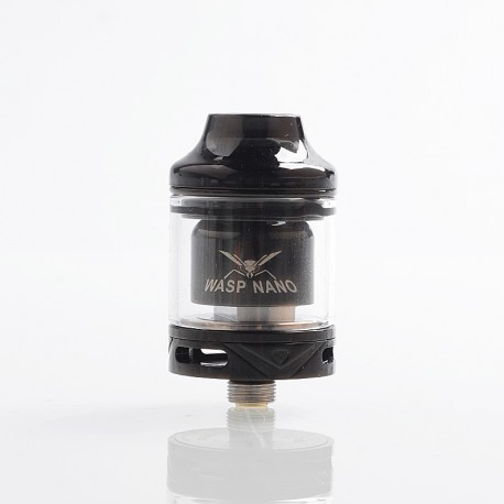 Authentic Oumier Wasp Nano RTA Rebuildable Tank Atomizer - Black, PCTG + Stainless Steel + Glass, 2ml, 23mm Diameter