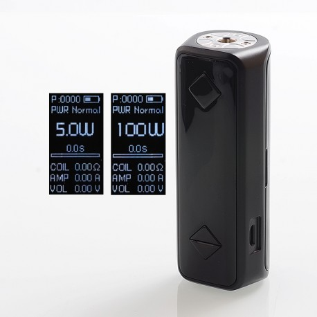 Authentic Hotcig G100 100W TC VW Variable Wattage Box Mod - Black, Zinc Alloy, 5~100W, 1 x 18650 / 20700 / 21700