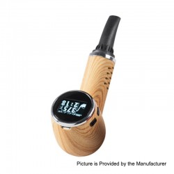 Authentic Anlerr Pipevape 1000mAh 30W TC VW Dry Herb Wax Vaporizer - Yellow Wood Grain, 21~30W, 149~224'C / 300~435'F