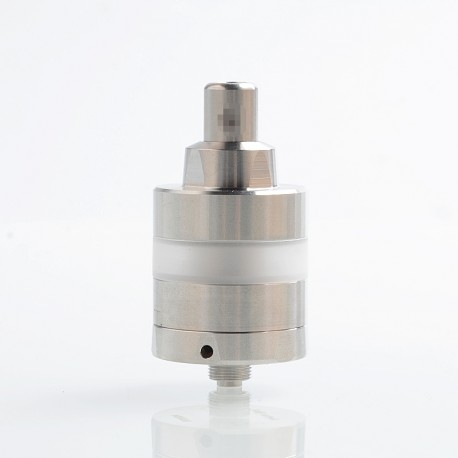 KF Lite 2019 Style RTA Rebuildable Tank Atomizer - Silver + White, 316 Stainless Steel + PC, 2ml, 24mm Diameter