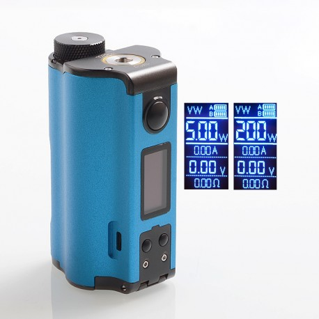 Authentic Dovpo Topside Dual 200W TC VW Variable Wattage Squonk Box Mod - Blue, 5~200W, 2 x 18650, 10ml