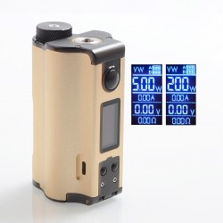 Authentic Dovpo Topside Dual 200W TC VW Variable Wattage Squonk Box Mod - Gold, 5~200W, 2 x 18650, 10ml