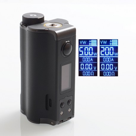 Authentic Dovpo Topside Dual 200W TC VW Variable Wattage Squonk Box Mod - Black, 5~200W, 2 x 18650, 10ml