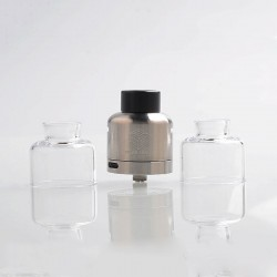 Authentic Steam Crave Glaz RDSA V1.1 30mm Rebuildable Dripping Atomizer w/ BF Pin - Silver, 30mm Diameter
