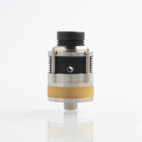 SXK PyroGeyser Style RDTA Rebuildable Dripping Tank Atomizer - Silver, 316 Stainless Steel + PEI, 22mm Diameter