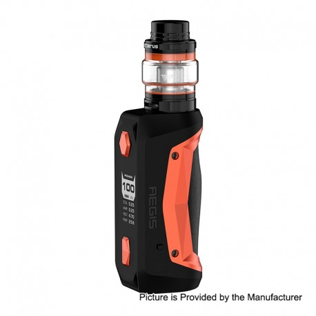 Authentic GeekVape Aegis Solo 100W TC VW Variable Wattage Mod + Cerberus Tank Kit - Orange, 5~100W, 1 x 18650, 5.5ml, 0.3 Ohm