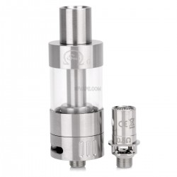 Authentic Innokin iSub G Sub Ohm Tank - Silver + Transparent, Stainless Steel + Pyrex Glass, 4.5mL, 0.5 ohm, 22mm Dia.