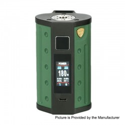 Authentic DEJAVU DJV D7 180W TC VW Variable Wattage Box Mod - Army Green, 5~180W, 2 x 18650