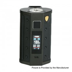 Authentic DEJAVU DJV D7 180W TC VW Variable Wattage Box Mod - Black, 5~180W, 2 x 18650