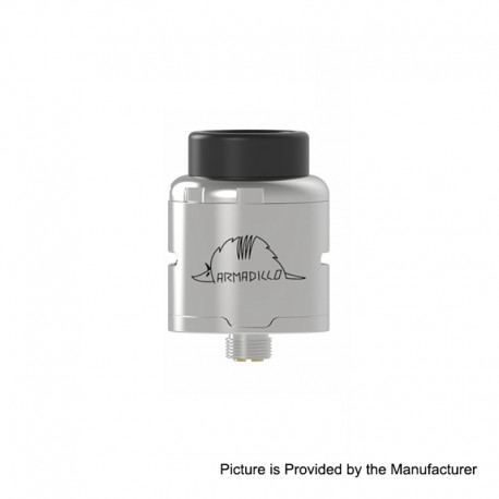 Authentic Oumier Armadillo RDA Rebuildable Dripping Atomizer - Matte Silver, Stainless Steel, 24mm Diameter