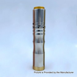 Kennedy Vindicator Less Ribbed Style Hybrid Mechanical Mod + Kennedy 25 Style RDA Kit - Silver, SS, 1 x 18650 / 20700 / 21700