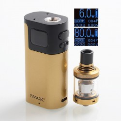 Authentic SMOKTech SMOK G80 80W TC VW Variable Wattage Box Mod + Spirals Tank Kit - Gold + Black, 2ml, 6~80W, Standard Edition