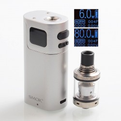Authentic SMOKTech SMOK G80 80W TC VW Variable Wattage Box Mod + Spirals Tank Kit - Silver, 2ml, 6~80W, EU Edition