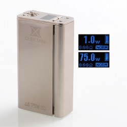 Authentic SMOKTech X Cube Mini 75W Bluetooth TC VW Variable Wattage Box Mod - Silver, 1~75W, 1 x 18650